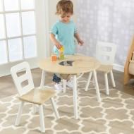 Set masa cu spatiu depozitare si 2 scaune Round Natural & White - Kidkraft