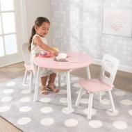 Set masa cu spatiu depozitare si 2 scaune Round Storage, Pink & White – Kidkraft
