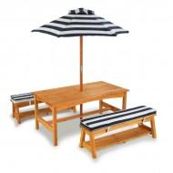 Set masa cu bancute, perne si umbrela Navy - Kidkraft