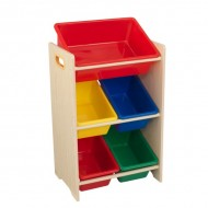 Spatiu depozitare jucarii 5 Bin Storage Unit, Primary & Natural - Kidkraft