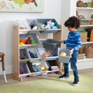 Spatiu depozitare jucarii Sort It & Store it Bin Unit - Gray & Natural - Kidkraft