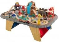 Set trenulete din lemn si masa de joaca Waterfall Junction - KidKraft