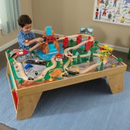 Trenulet din lemn Waterfall Station Train Set & Table Natural - Kidkraft