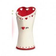 Vaza alb cu rosu cu inimioare